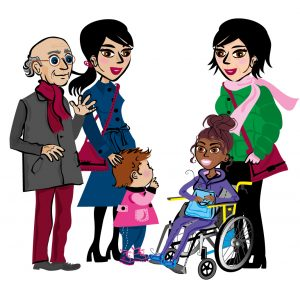 Illustration över en grupp människor