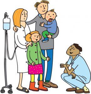 Bild på familj och vårdpersonal på sjukhus.