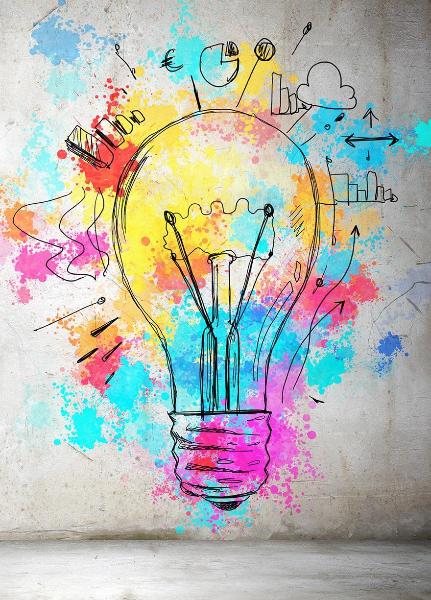 En glödlampa med gula, turkosa, rosa mönster och symboler runt omkring.