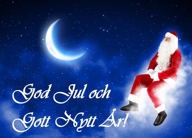 Tomtebild med text God Jul