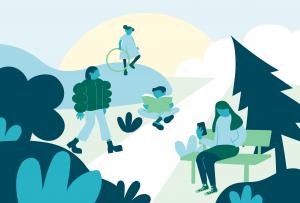 Illustration över barn och unga utomhus.